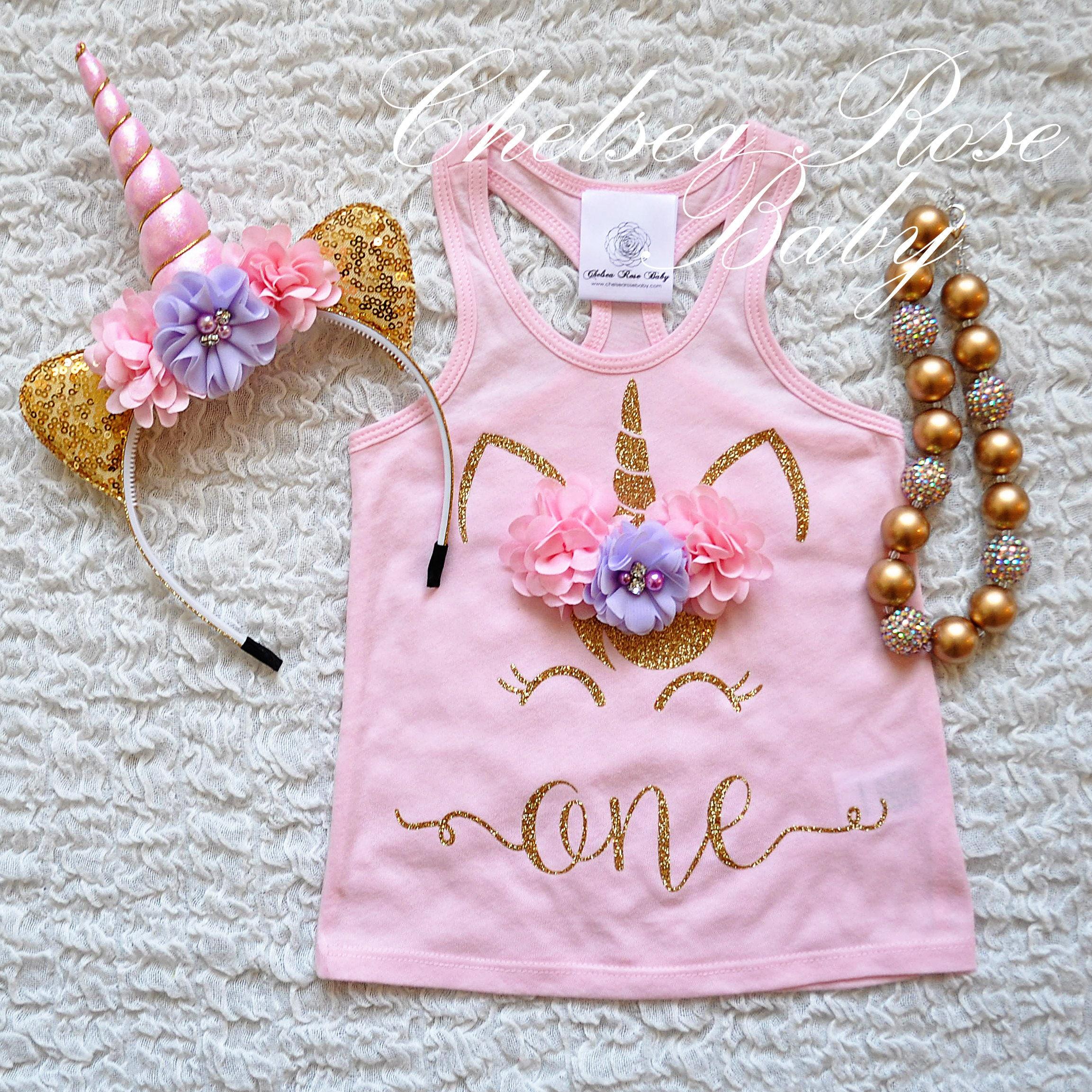 Color de rosa y oro cumpleaños unicornio camisa camiseta