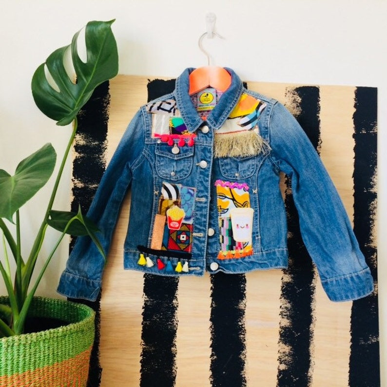 JUMP 3-4Y Denim Jacket Upcycled with African fabric Pom Pom image 0