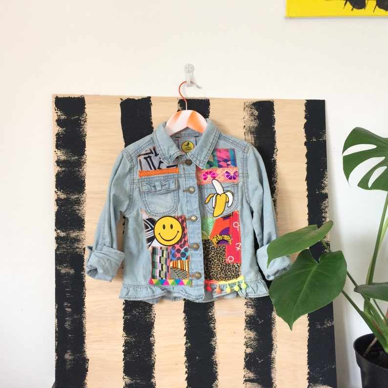JUMP 4-5 Y Denim Jacket Upcycled with African fabric Pom Pom image 0