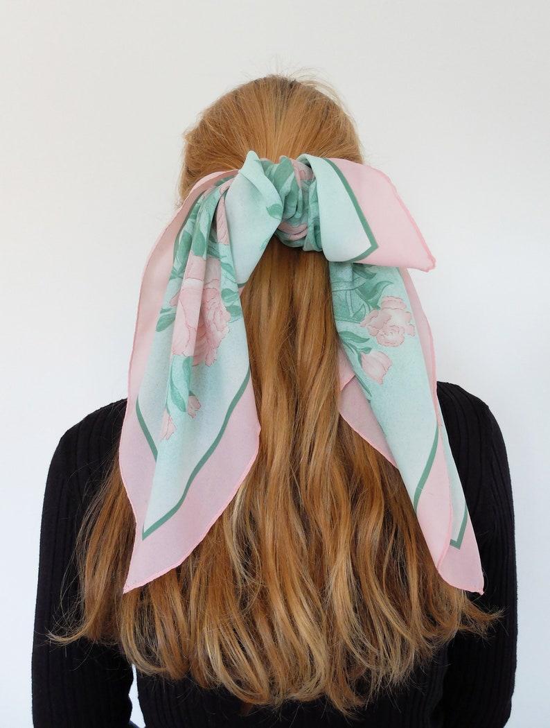 TIE Hair Bow Silk Scarf Hair Barrette Girls Ladies image 0
