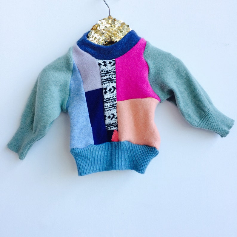 FOLD Baby 0-3 Months Jumper Sweater Patchwork Top Double Layer image 0