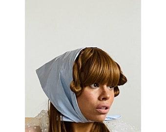 Rain Hood Headscarf Ladies in PVC Light Powder Baby Blue