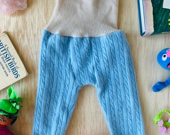 CRAWL 3-6 Months Baby Children's Kids Trousers Pants Joggers Sweatpants in Upcycled Cashmere Unisex