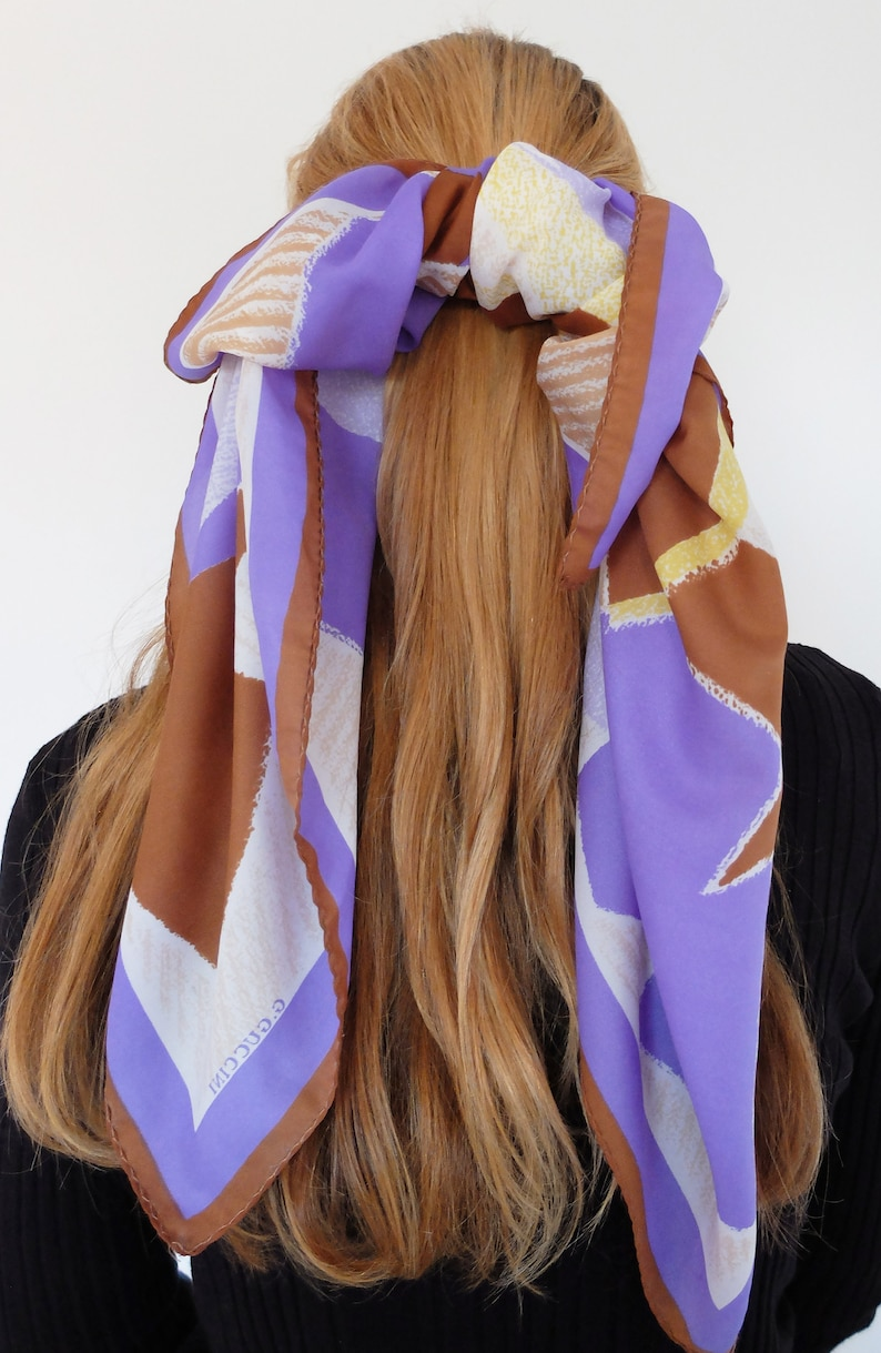 TIE Hair Bow Silk Scarf Hair Barrette Girls Ladies image 0