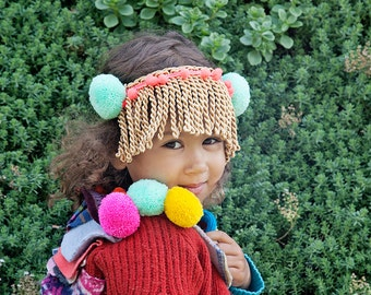 SHOW 3-4 Years Kids Childrens Wool Showpiece Jacket Coat Scales Pom Poms in Upcycled Wool Unisex A