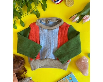 FOLD Baby 3-6 Months Jumper Sweater Patchwork Top Double Layer in Cashmere Handmade Upcycled Unisex