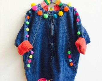 SHOW 6-7 Years Kids Poncho Jacket Top with Pom Pom trim in Denim Unisex