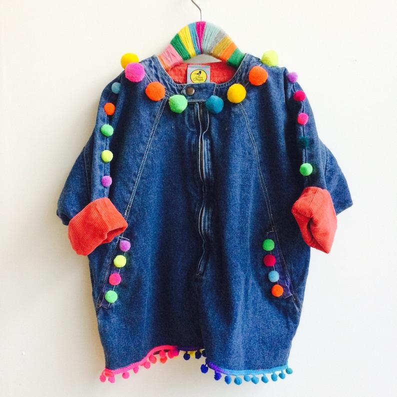 SHOW 6-7 Years Kids Poncho Jacket Top with Pom Pom trim in image 0
