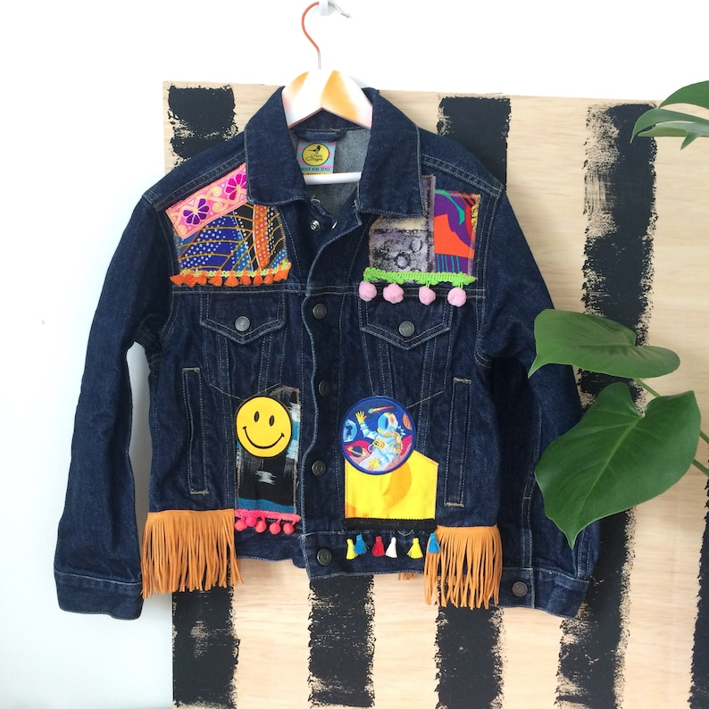 JUMP 6-7 Y Denim Jacket Upcycled with African fabric Pom Pom image 0