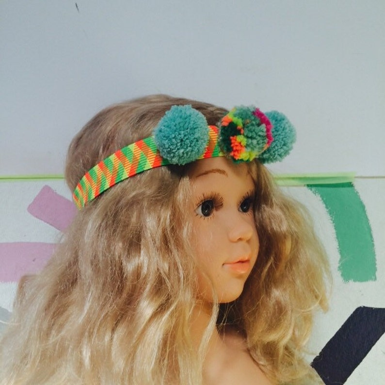 TWIRL Headband 1-3Y Childrens Kids Pom Pom Headband Elastic image 0