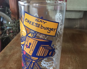 "Vintage 1977 McDonald's ""Say Cheeseburger"" Glass"
