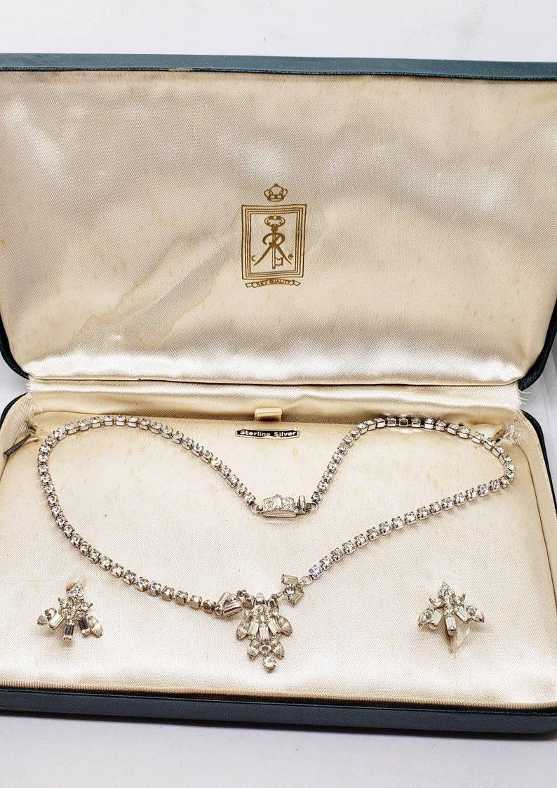 Vintage Sterling Rhinestone Choker Earrings Original Jewelers  Box Karen Lynn for Charles Rothman Key Quality