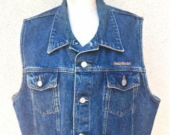 935c06ff Vintage Harley Davidson Denim Vest in Men's Large Jean Motorcycle Vest Hip  American Clothing Unisex