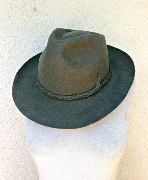 Vintage Hunter Green Cowboy Hat Bohemian Wool Felt