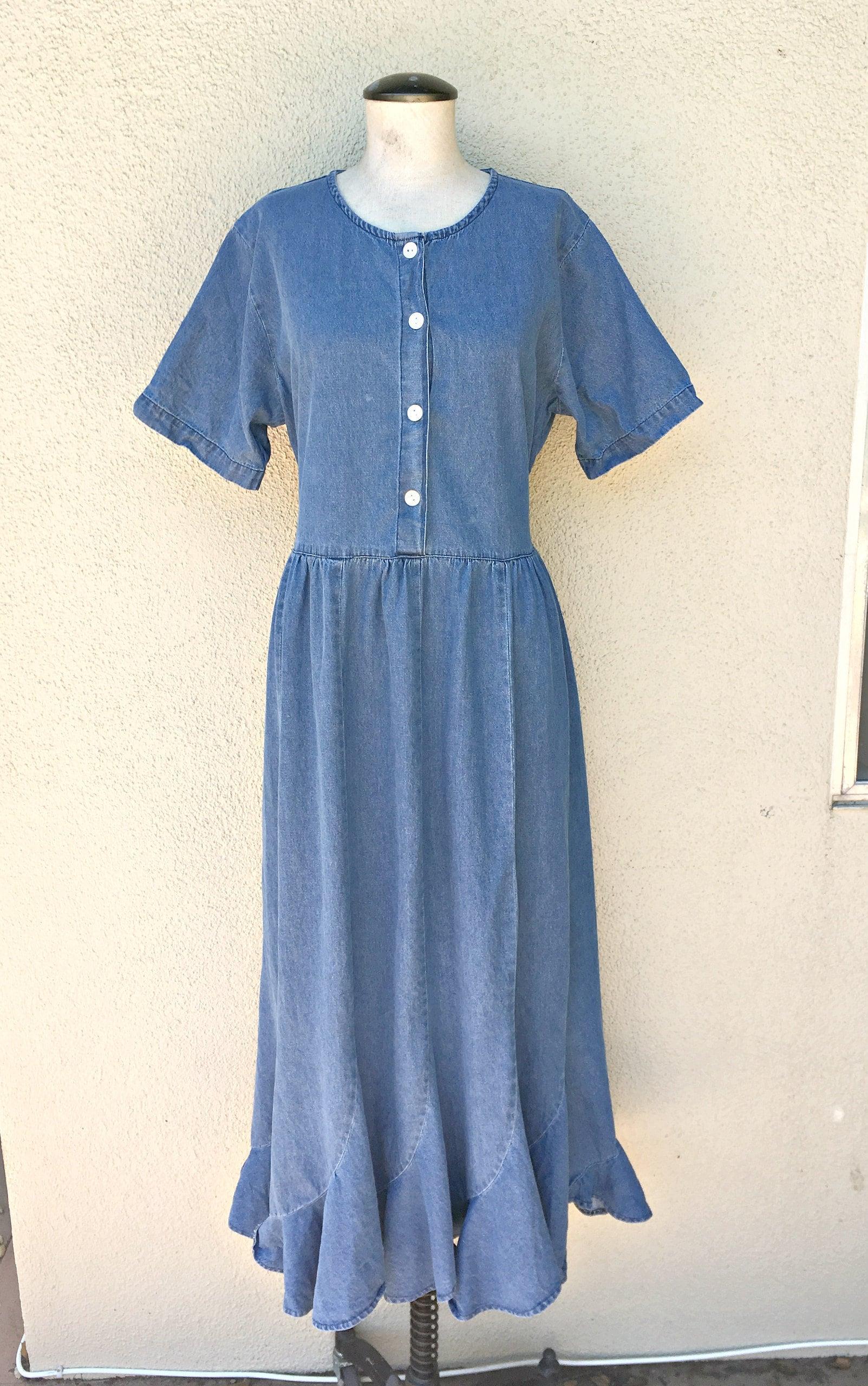 90's Medium Denim Dress by Cervelle Boho Long Jean Women's Spring Clothing