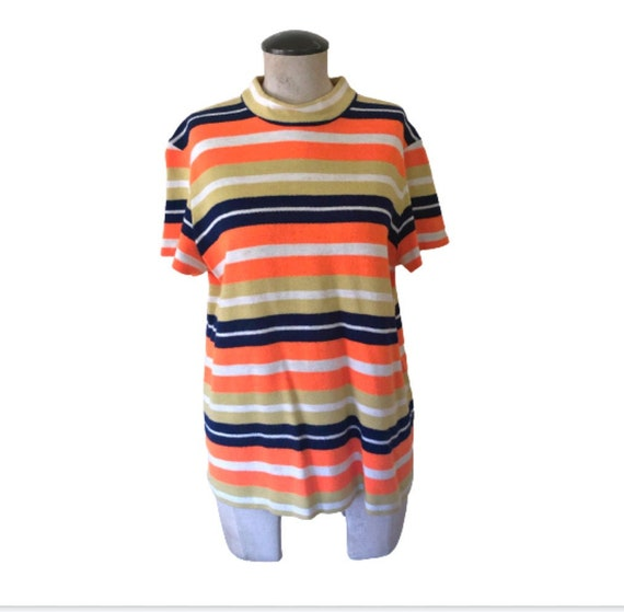 60's Mod Striped Top in Large Vintage Mock Neck sw
