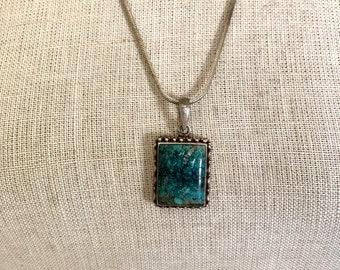 Vintage  Turquoise Pendant Southwestern Necklace Minimalist Jewelry