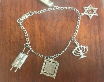 Vintage Jewish Charm Bracelet Sterling Silver Menorah and Star of David Judaic Charm Jewelry Religious Gift