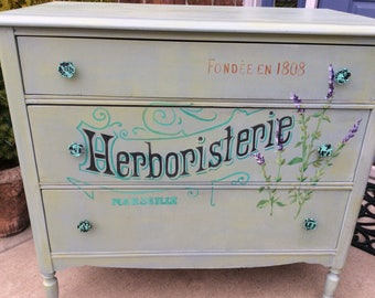 French Country Hand Painted Furniture, Dresser, Entry Chest, Annie Sloan Chalk Paint, Vintage Cottage Style Garden Home Decor