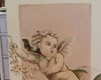 SOLD! French Market Cherub hand painted in Annie Sloan Chalk Paint, Wall Decor, French Wood Sign