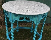 SOLD French Country Bleu Hand Painted Solid Wood Table Cottage Decor Painted Furniture FrancaisDeMarche, Vintage Patina French Garden House