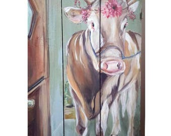 Hand Painted French Farmhouse Style Cow, Vintage Wood Sign with Annie Sloan Chalk Paint, Wall Decor
