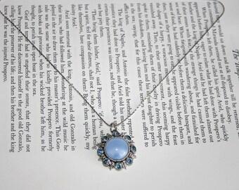 Avon Moon Magic Necklace - 1974 Blue Rhinestone Silver Tone Pendant 2