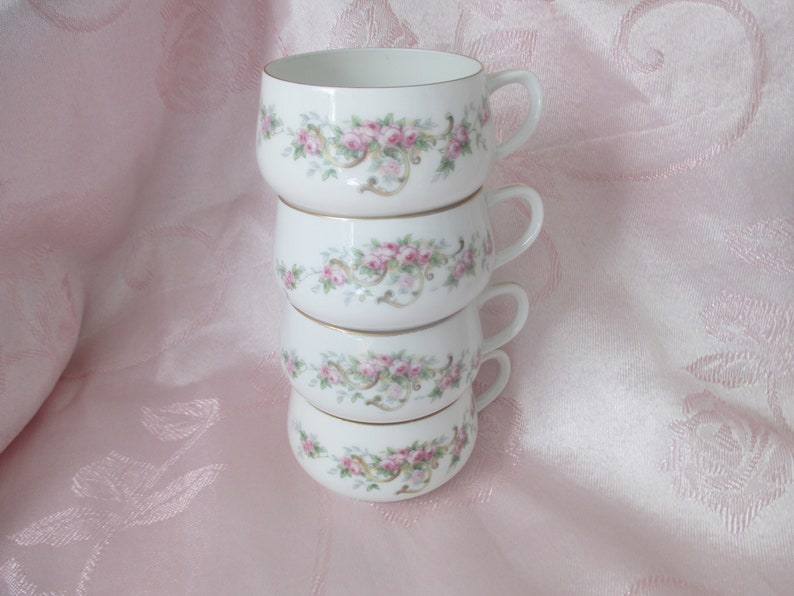 Selb Set of 4 MUE39 Rose Floral Flat Cups Bavaria Paul Muller