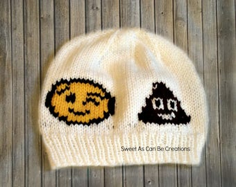 cf596ae3242 Hand knit Emoji Hat in white for child size Wink Face