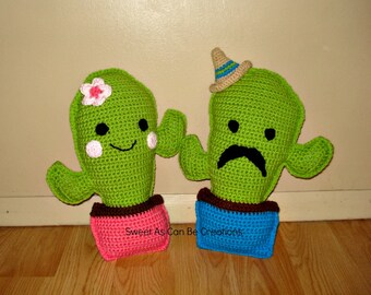 Crochet Cactus Pillows boy with sombrero girl with flower