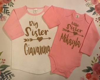 Blaward Little Sister Big Sister Matching Outfits Baby Girl Kids Long Sleeve Romper T-Shirt Flowers Pants Trousers with Headband Clothing Set for 0-6Years