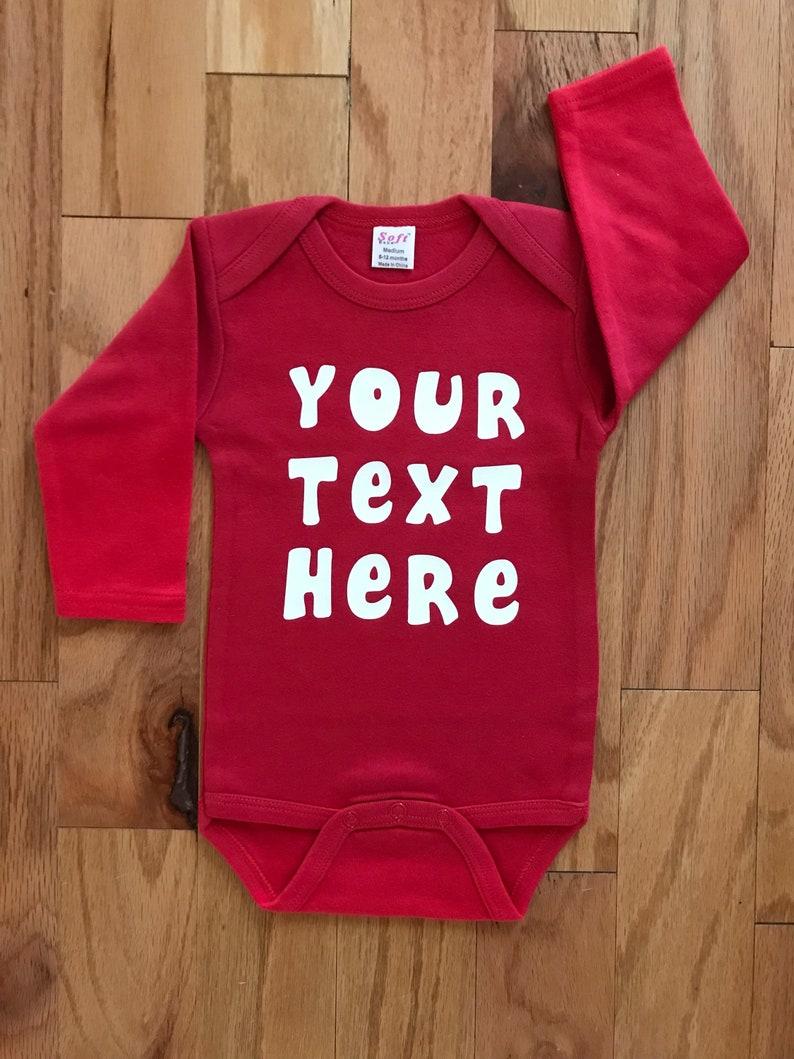 f28a59731 Custom Baby Long Sleeve Bodysuit Your Text Here Long Sleeve | Etsy