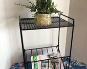 Mid Century Modern Black Metal Mesh Small Record Player Stand and Album Storage-Side Table Lamp-Plant Stand-Magazine Book Rack