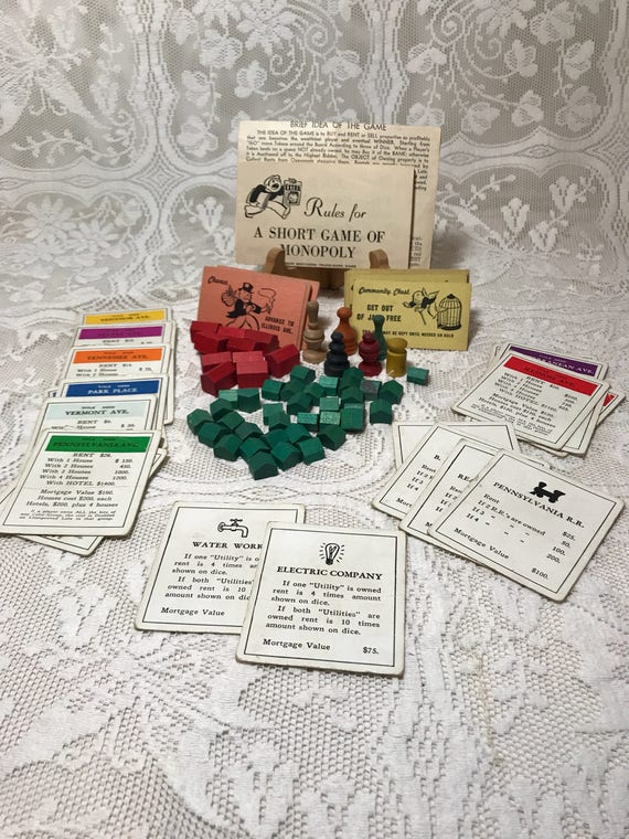 Vintage 1951 Monopoly Wood Game Pieces With Instructions Real Etsy
