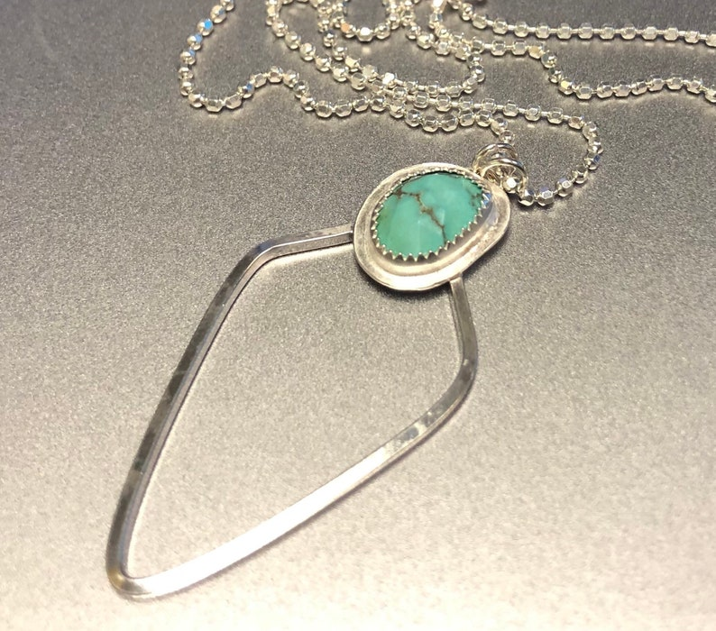 Arrow Turquoise Necklace on a 16\u201d Sterling Chain