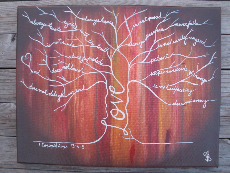 Lg. Autumn Wood 1 Cor. 13 Love Tree Painting scripture