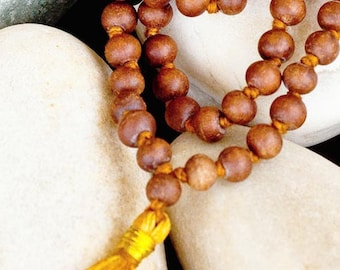 Sandalwood Mala Beads for Meditation - 108 well Knoted