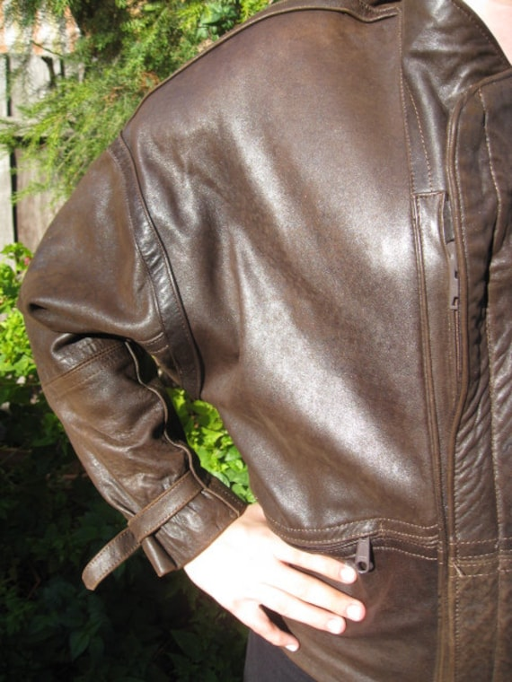 1980s brown leather mexican mens bomber jacket - S