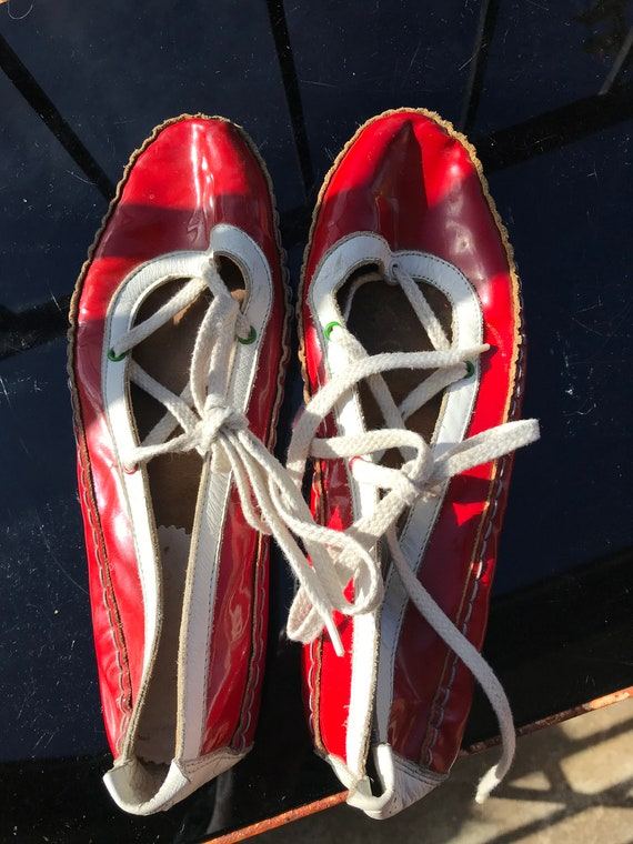 Red and white patent leather flats ~ 1980s