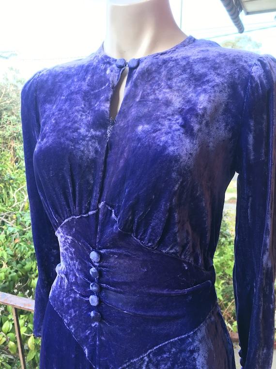 Cobalt blue silk velvet dress ~ 1930s ~ Sz S
