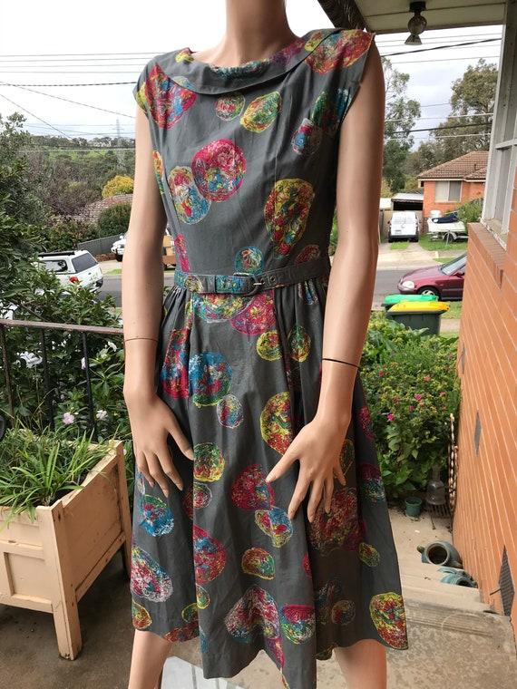 Cotton 1960s coloured balls dress - Sz S