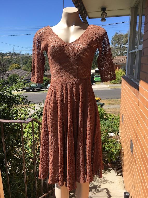 1930s 1940s crochet dress 3/4 sleeve ~ Sz XS, S