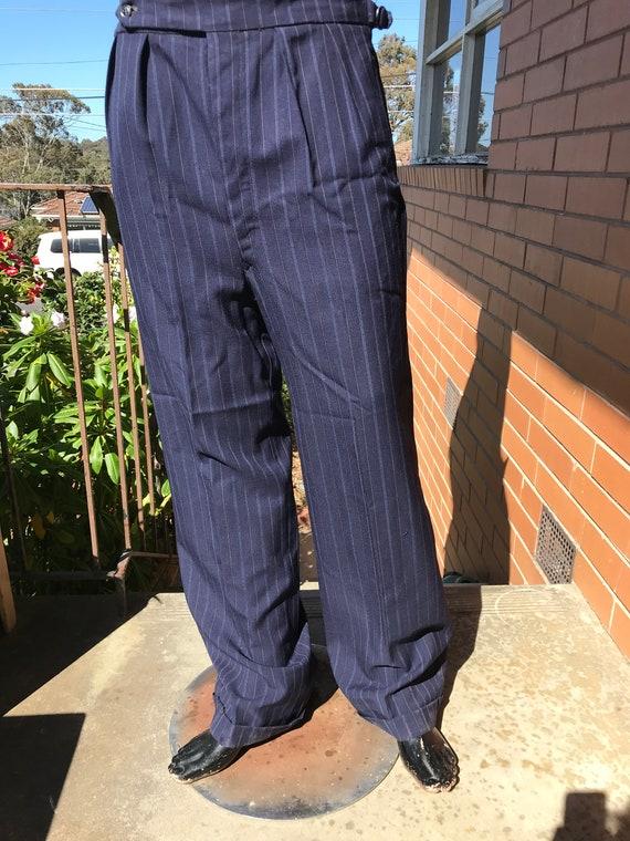 1940s button front, pin stripe trousers ~ Sz M