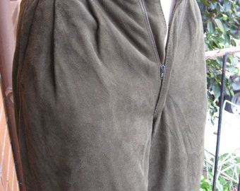 Vintage 1980s SABA Olive Green Suede Knickerbockers 3/4 trousers - Sz XS