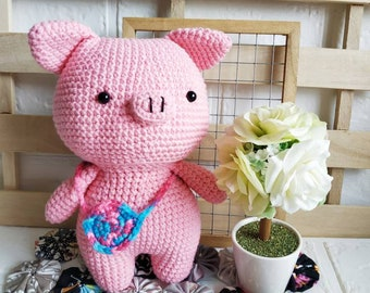 Pig with removable sling bag amigurumi doll