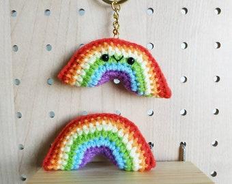 Rainbow amigurumi keychain or brooch