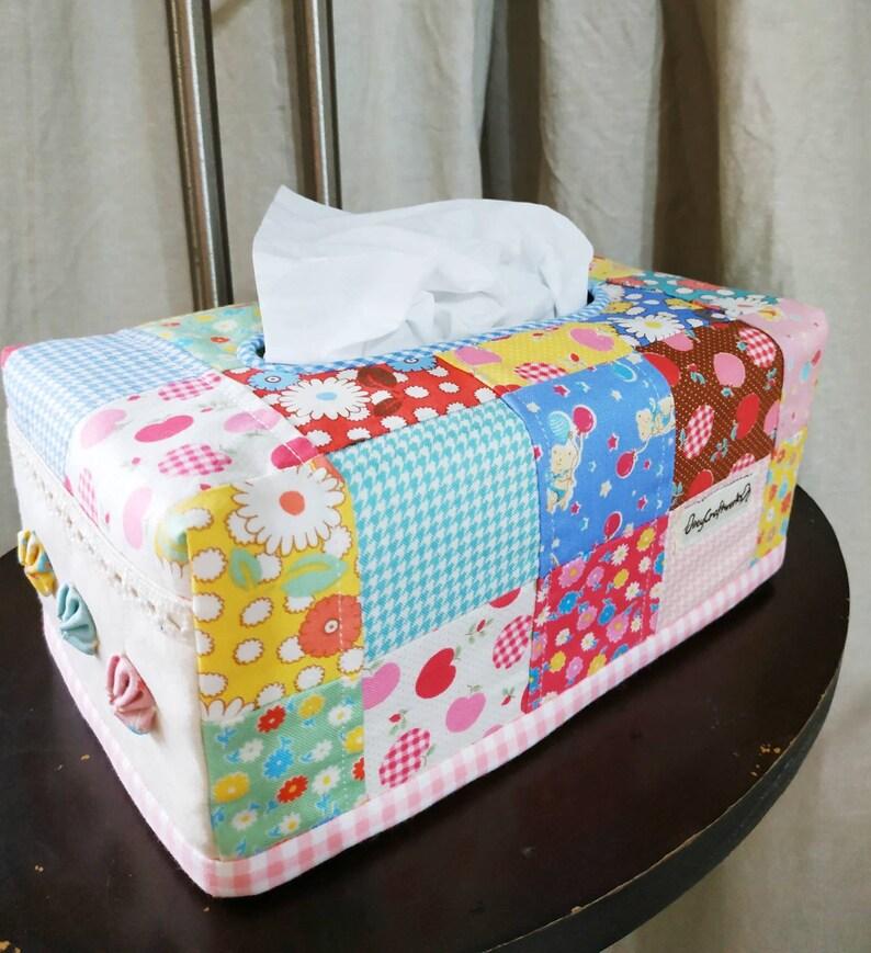 Vintage patchwork tissue box cover image 0