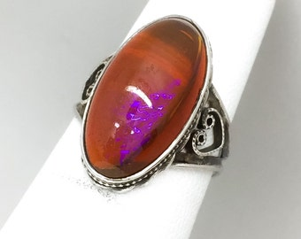 SALE Stunning Vintage Sterling Silver Dragon's Breath Ring Size 4 SALE
