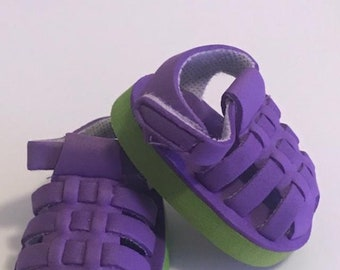 Lavender Foam Sandals with Silk Flowers Fits 18 inch American Girl Dolls