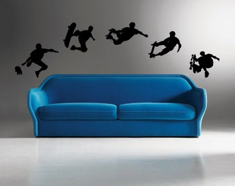 5 Skateboarder Wall decals - Removable - Vinyl Decals - home decor - skaters - wall stickers -bedroom decal - skating decal -